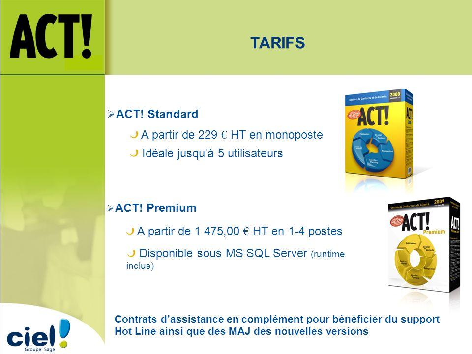 TARIFS ACT! Standard A partir de 229 € HT en monoposte