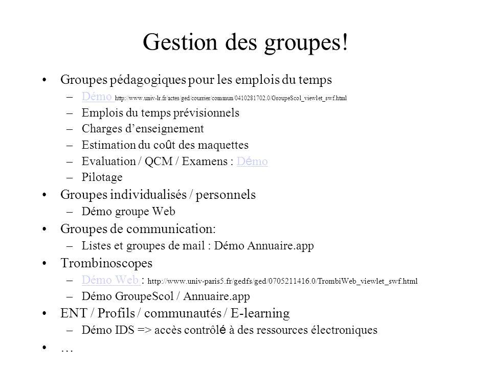 Gestion des groupes! Groupes pédagogiques pour les emplois du temps