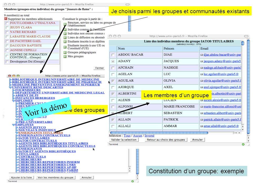 Voir la démo Constitution d'un groupe: exemple