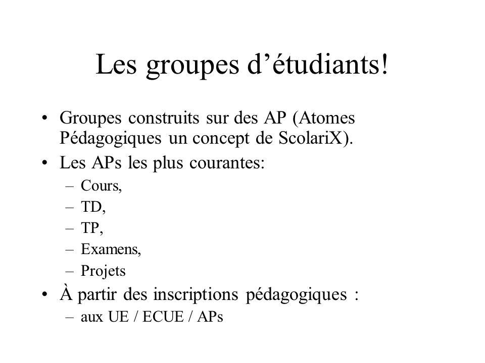 Les groupes d'étudiants!