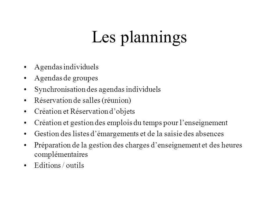 Les plannings Agendas individuels Agendas de groupes
