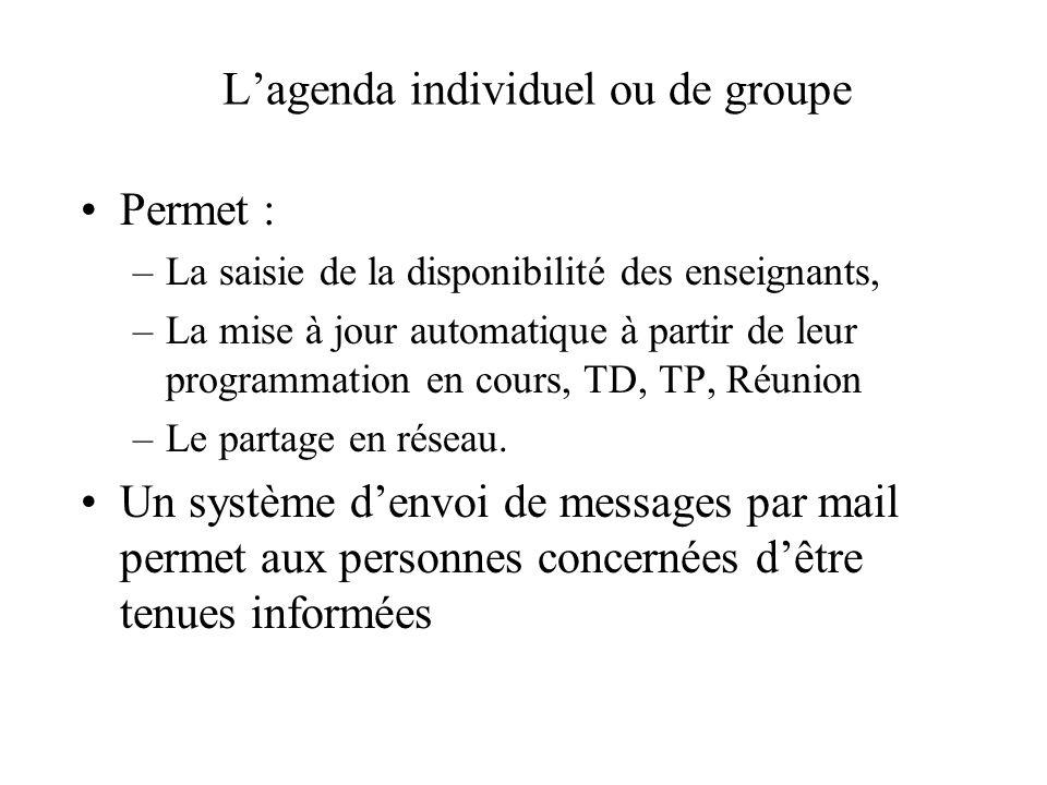 L'agenda individuel ou de groupe