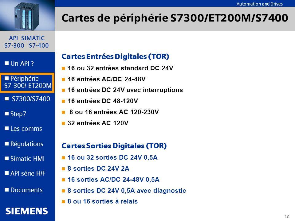 Cartes de périphérie S7300/ET200M/S7400