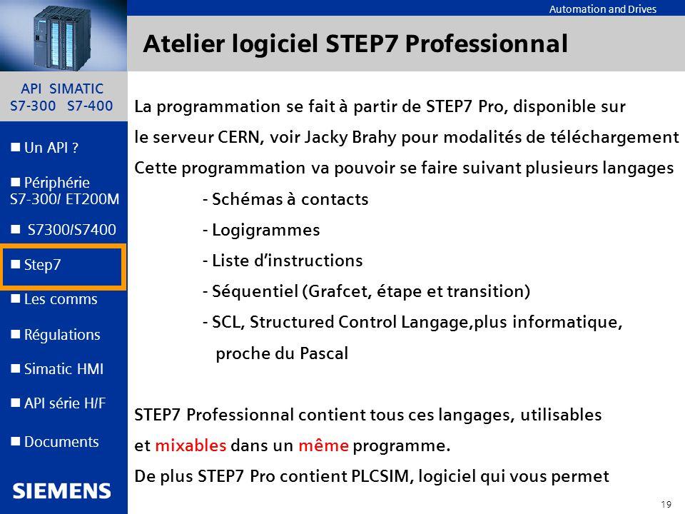 Atelier logiciel STEP7 Professionnal