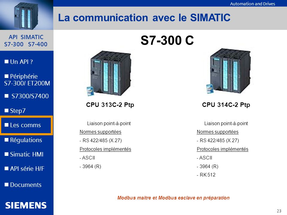 S7-300 C La communication avec le SIMATIC CPU 313C-2 Ptp