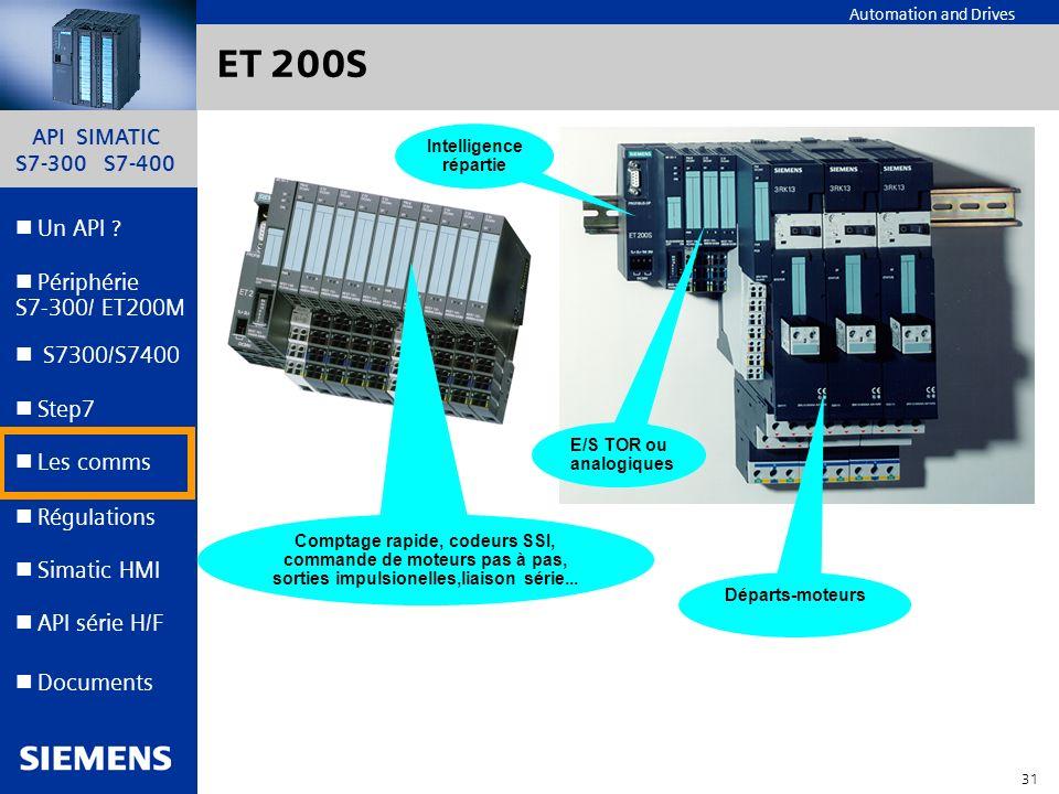 ET 200S Intelligence répartie E/S TOR ou analogiques