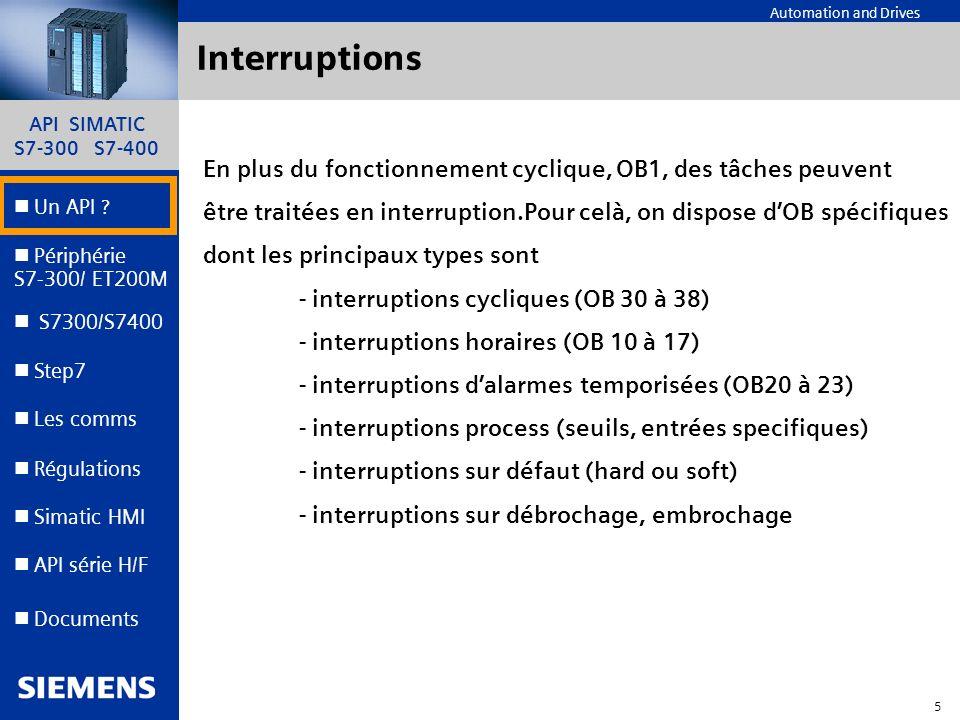 Interruptions En plus du fonctionnement cyclique, OB1, des tâches peuvent. être traitées en interruption.Pour celà, on dispose d'OB spécifiques.