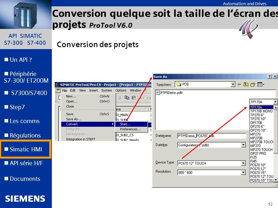 Conversion quelque soit la taille de l'écran des projets ProTool V6.0
