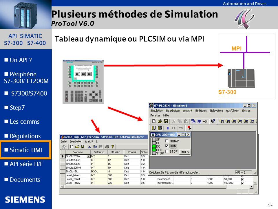 Plusieurs méthodes de Simulation ProTool V6.0
