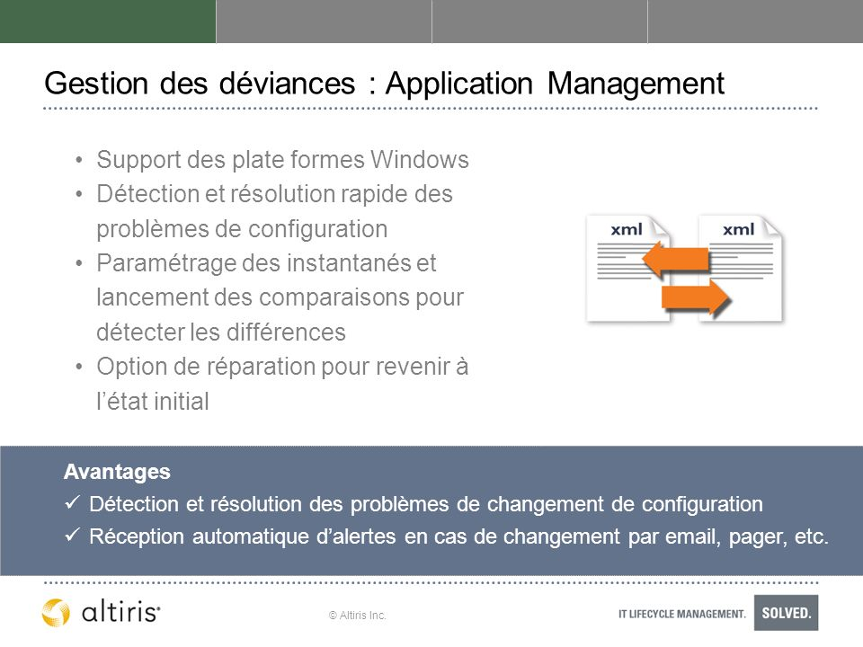 Gestion des déviances : Application Management