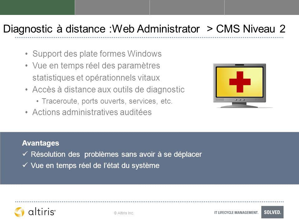 Diagnostic à distance :Web Administrator > CMS Niveau 2