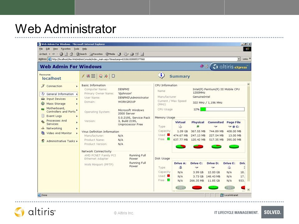 Web Administrator © Altiris Inc.