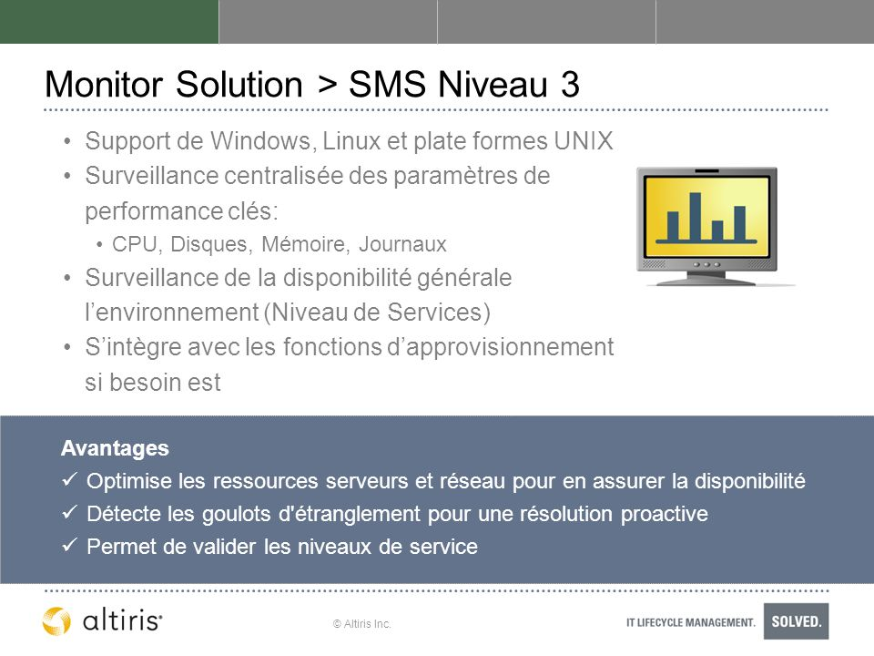 Monitor Solution > SMS Niveau 3