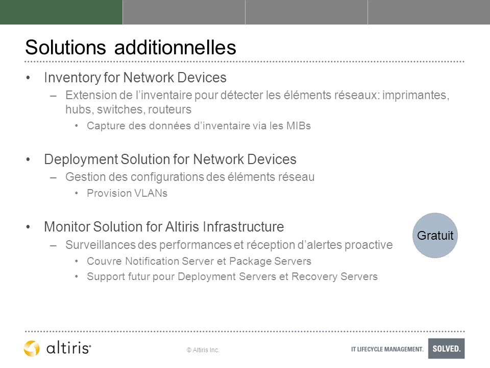 Solutions additionnelles