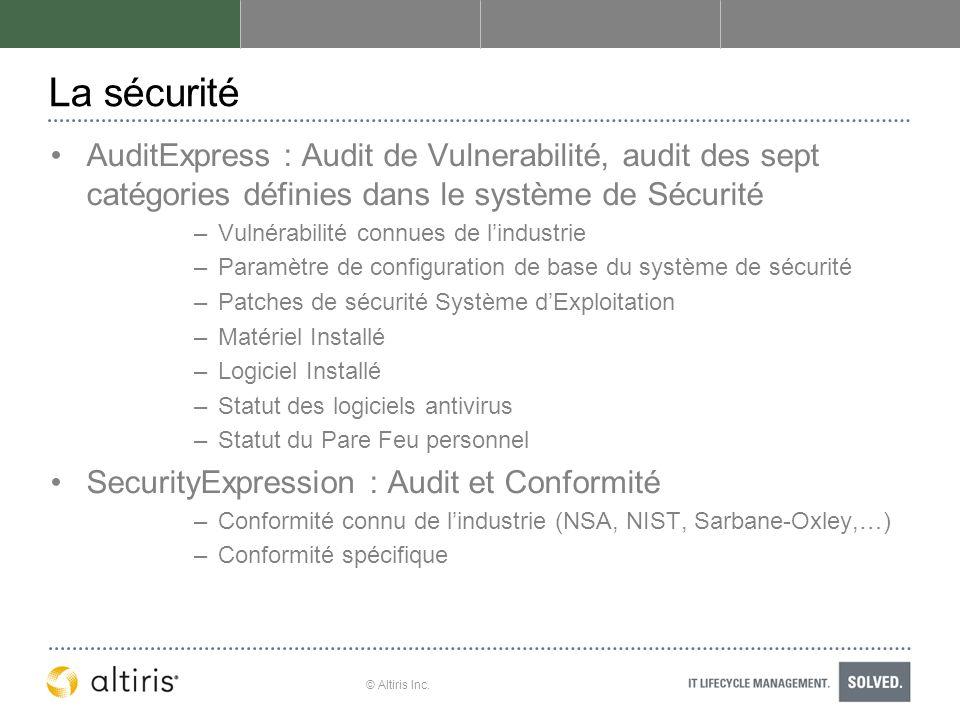 La sécurité AuditExpress : Audit de Vulnerabilité, audit des sept catégories définies dans le système de Sécurité.