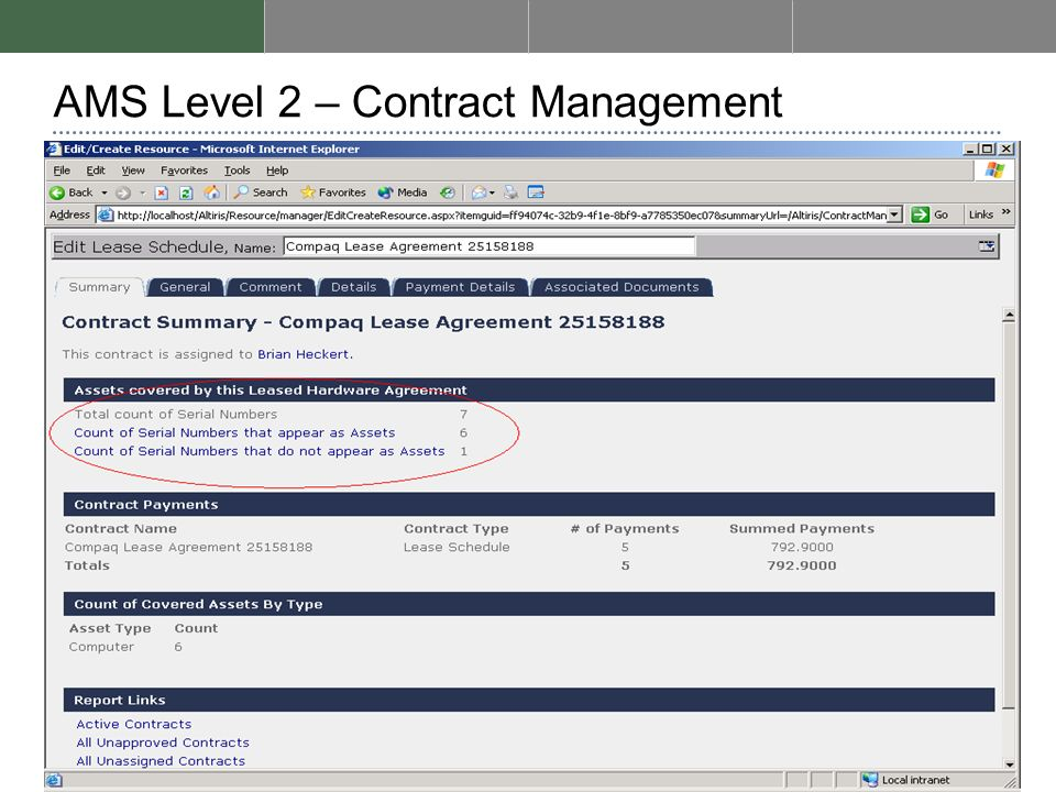 AMS Level 2 – Contract Management