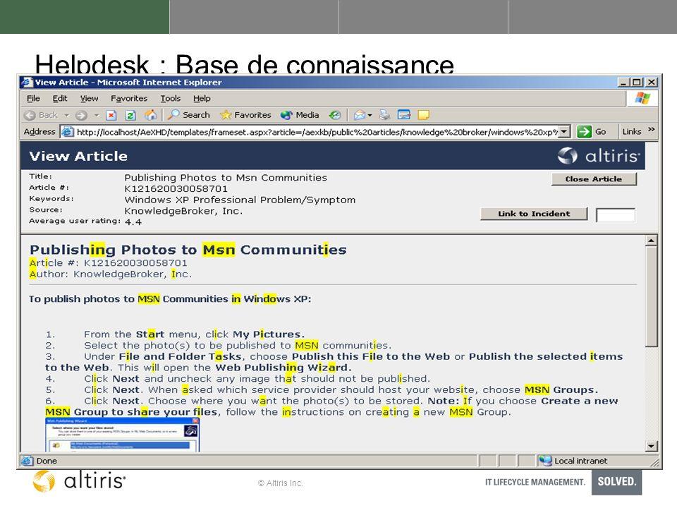 Helpdesk : Base de connaissance