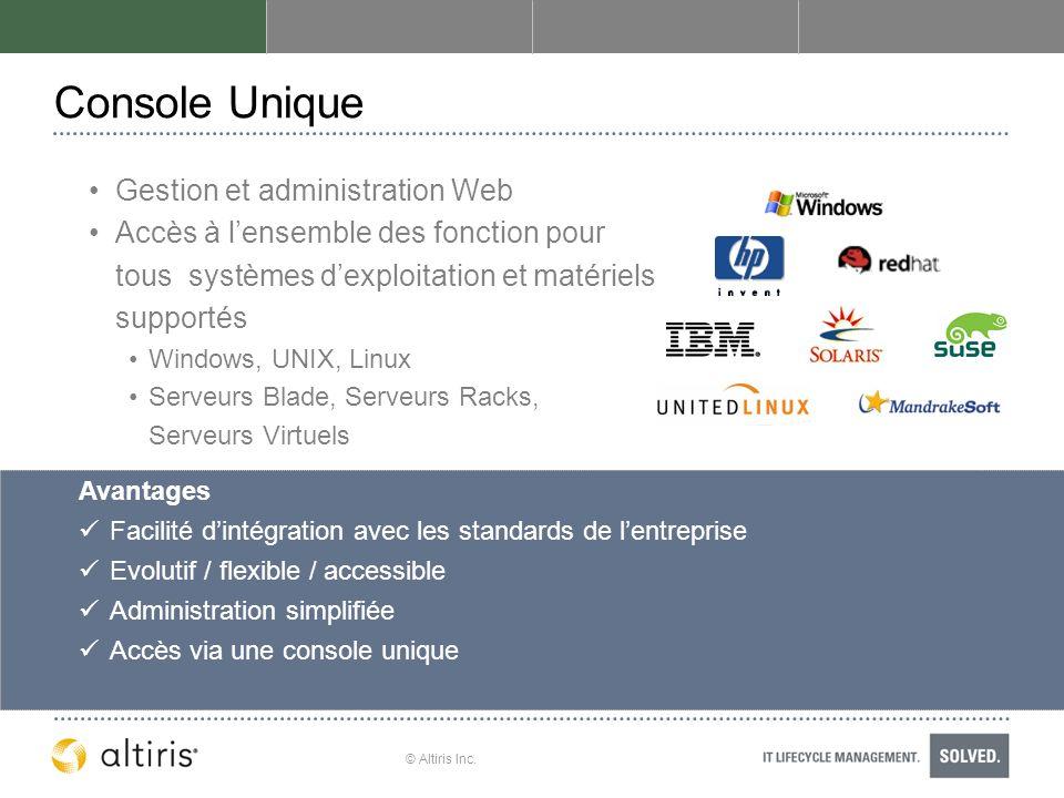 Console Unique Gestion et administration Web