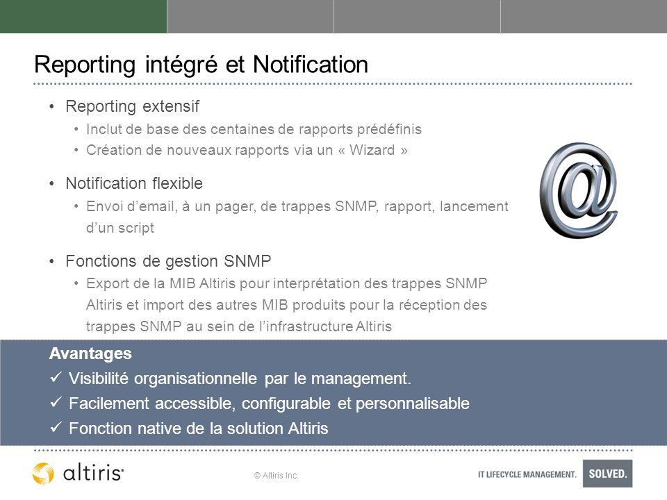 Reporting intégré et Notification