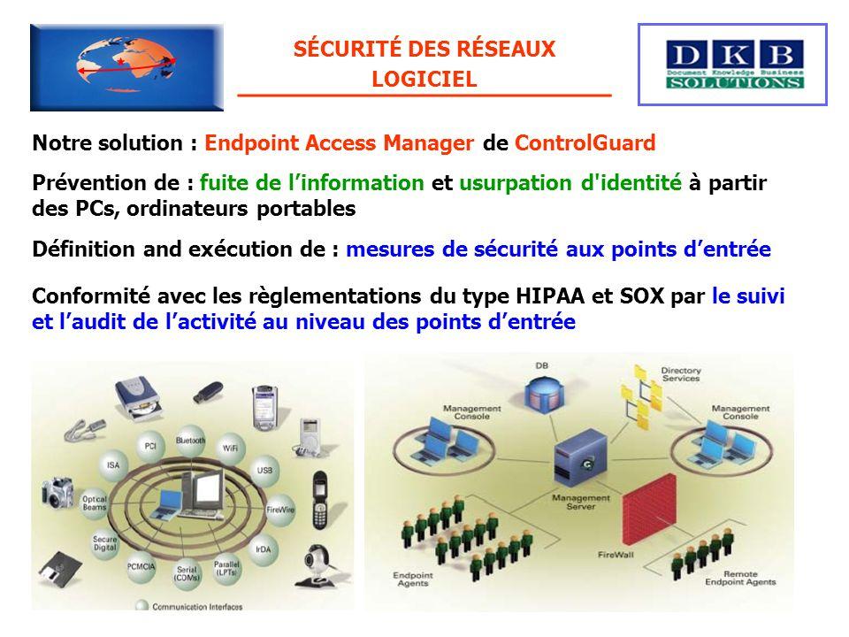 SÉCURITÉ DES RÉSEAUX LOGICIEL. Notre solution : Endpoint Access Manager de ControlGuard.