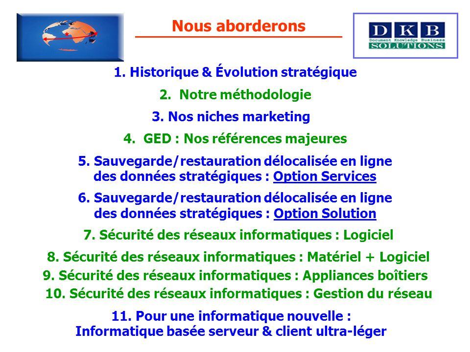 Nous aborderons 1. Historique & Évolution stratégique