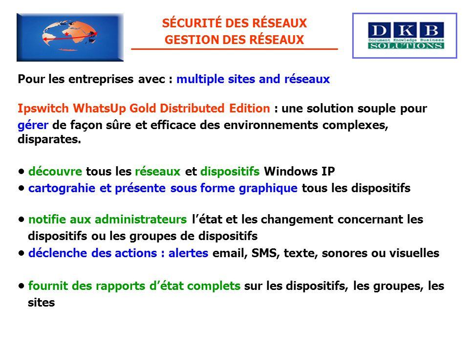 SÉCURITÉ DES RÉSEAUX GESTION DES RÉSEAUX. Pour les entreprises avec : multiple sites and réseaux.