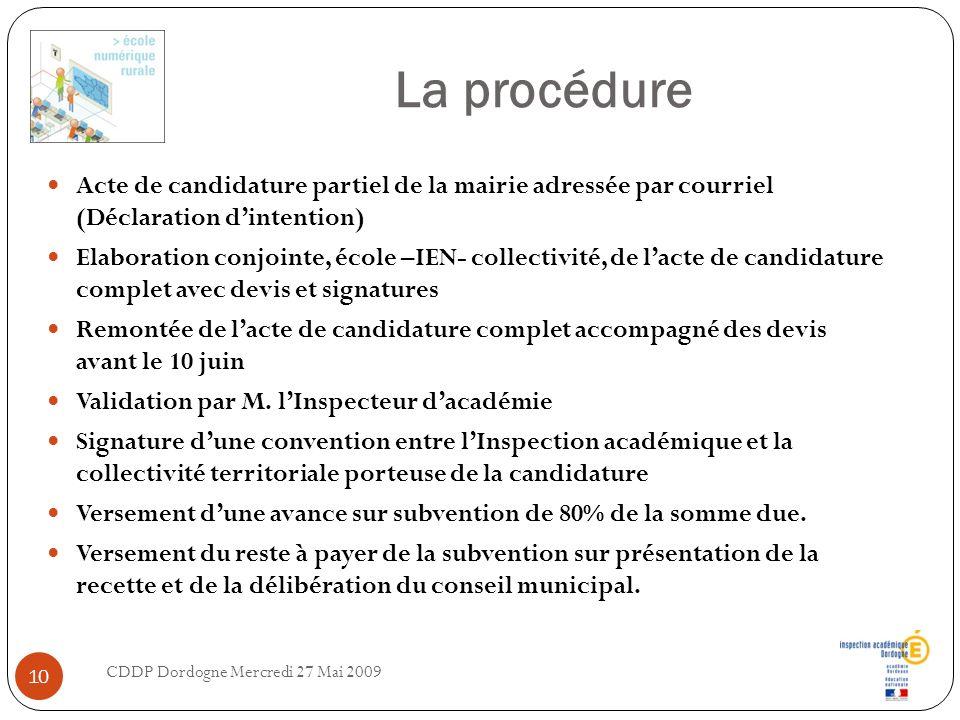 La procédure Acte de candidature partiel de la mairie adressée par courriel (Déclaration d'intention)