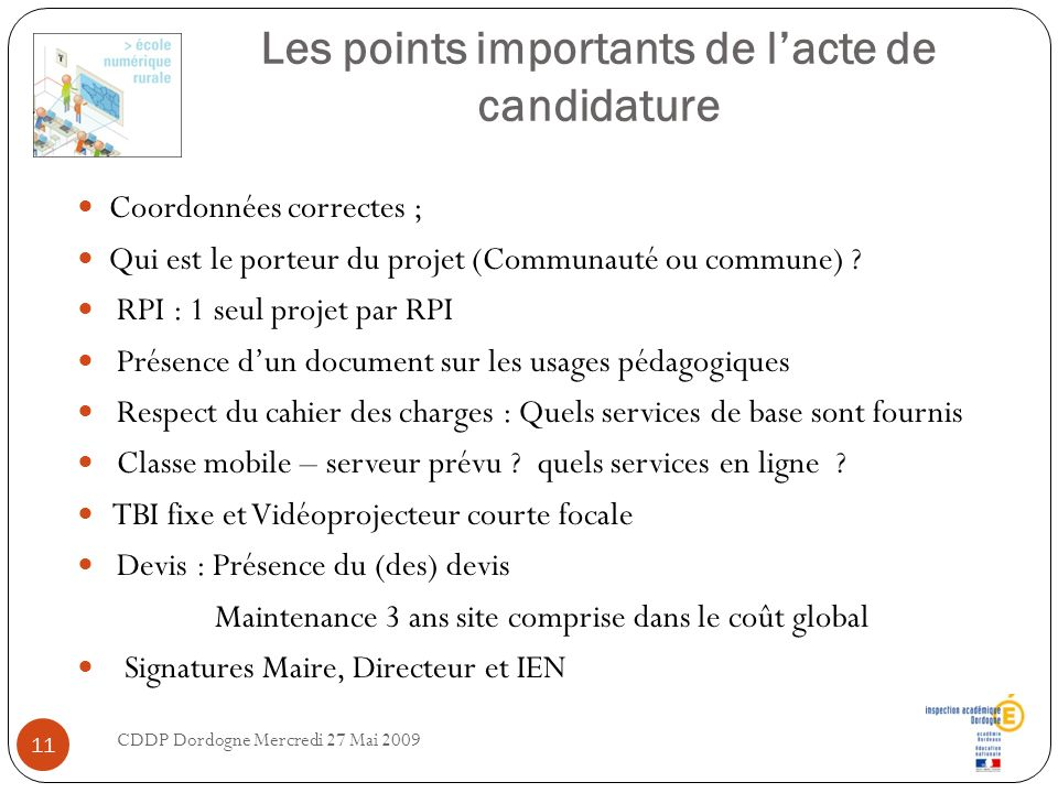 Les points importants de l'acte de candidature