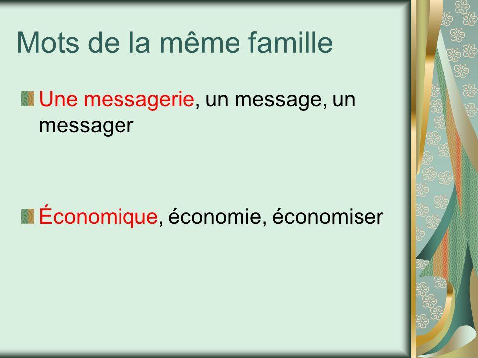 Mots de la même famille Une messagerie, un message, un messager