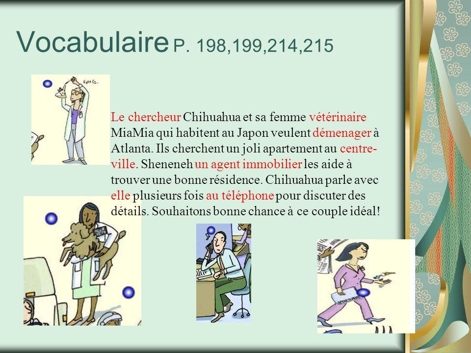 Vocabulaire P. 198,199,214,215