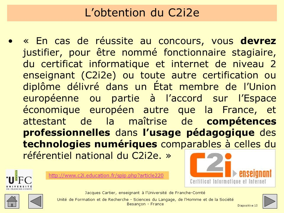 L'obtention du C2i2e