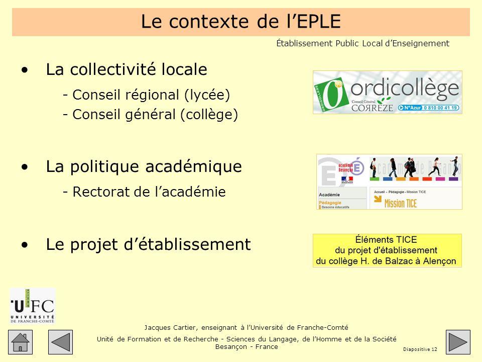 Le contexte de l'EPLE La collectivité locale La politique académique