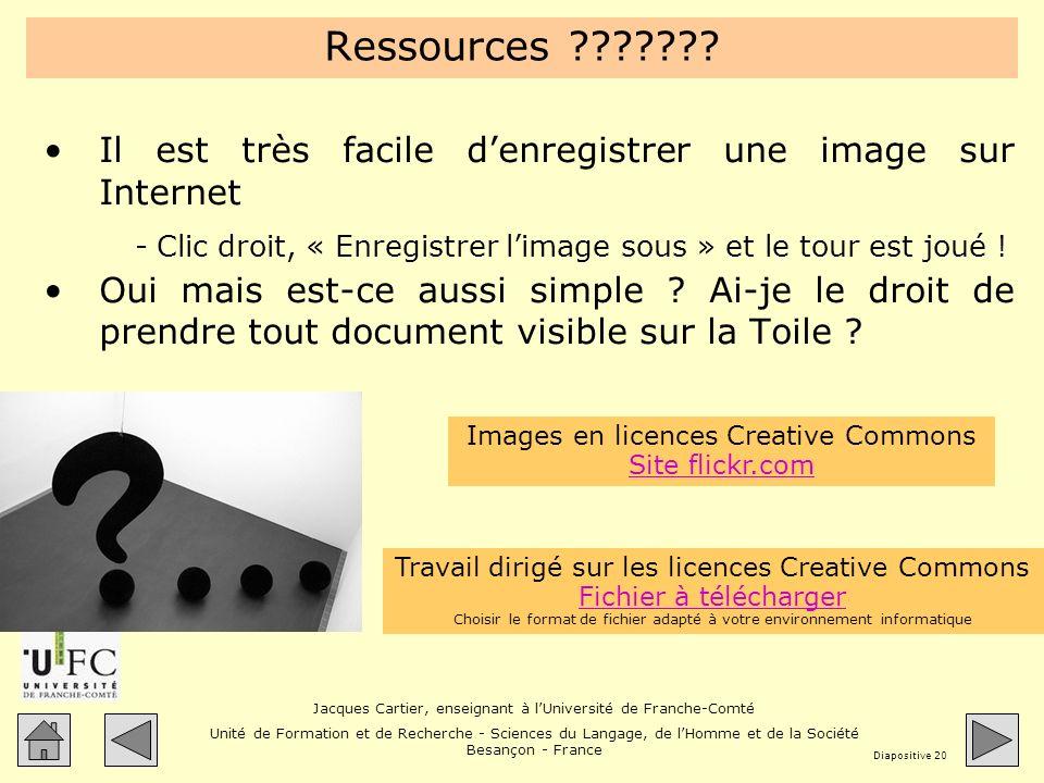 Ressources Il est très facile d'enregistrer une image sur Internet. Clic droit, « Enregistrer l'image sous » et le tour est joué !