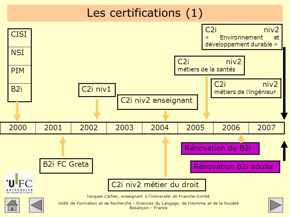 Les certifications (1) C2i niv2 « Environnement et développement durable » CISI. NSI. PIM. B2i.