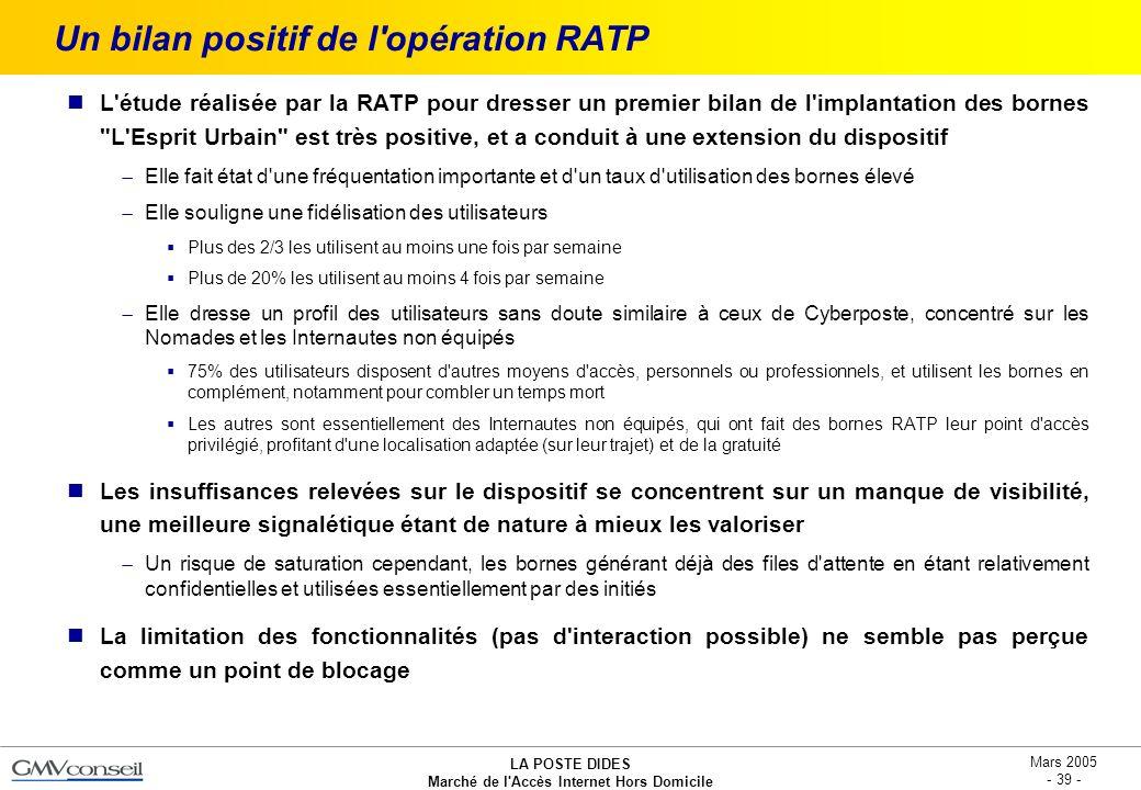 Un bilan positif de l opération RATP