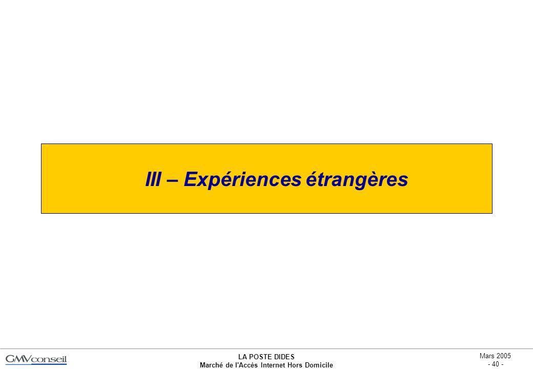 III – Expériences étrangères