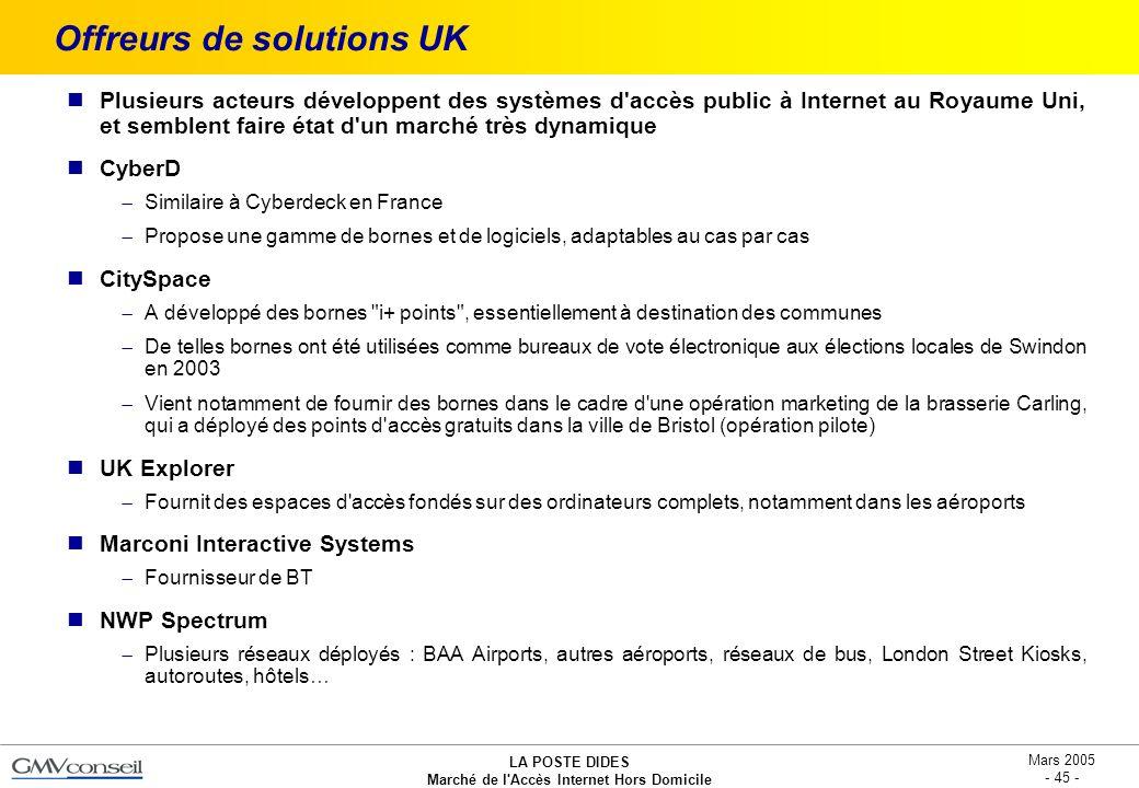 Offreurs de solutions UK