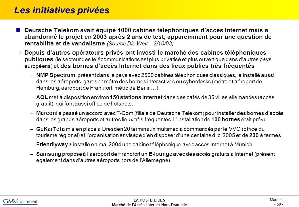 Les initiatives privées