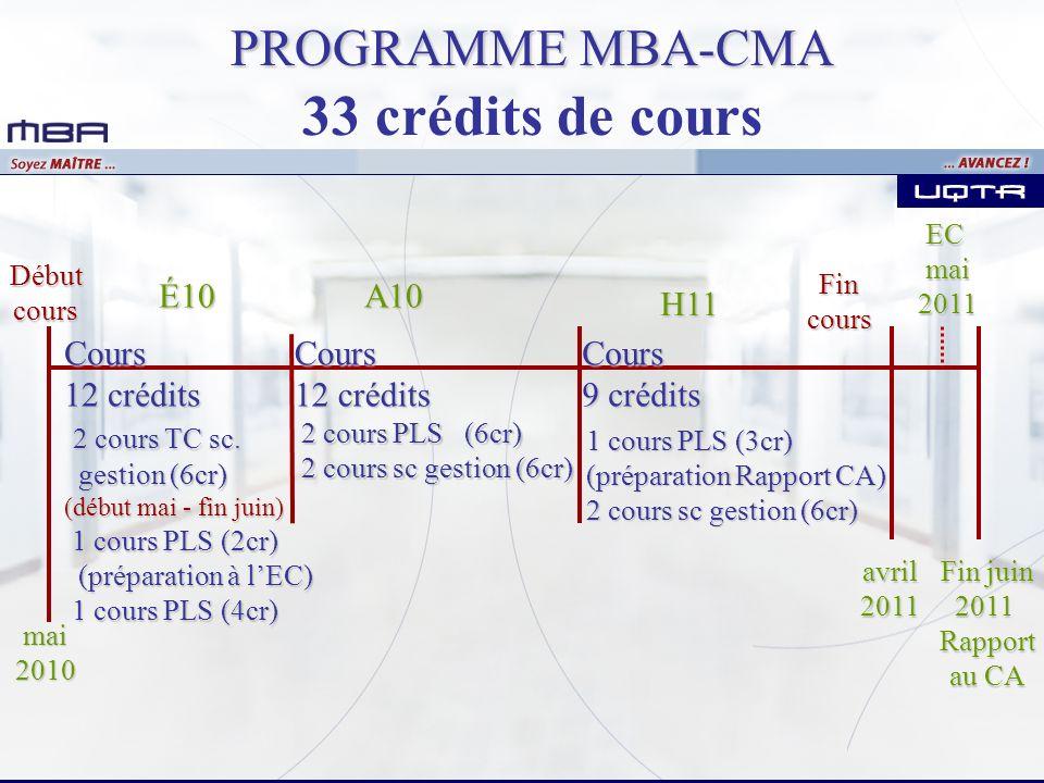 33 crédits de cours PROGRAMME MBA-CMA É10 A10 H11 Cours 12 crédits