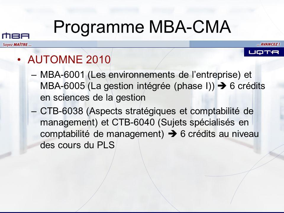 Programme MBA-CMA AUTOMNE 2010