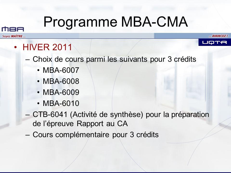 Programme MBA-CMA HIVER 2011
