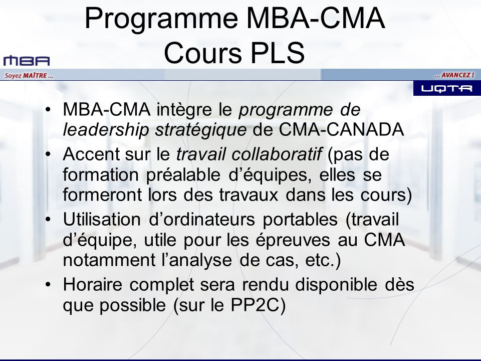 Programme MBA-CMA Cours PLS
