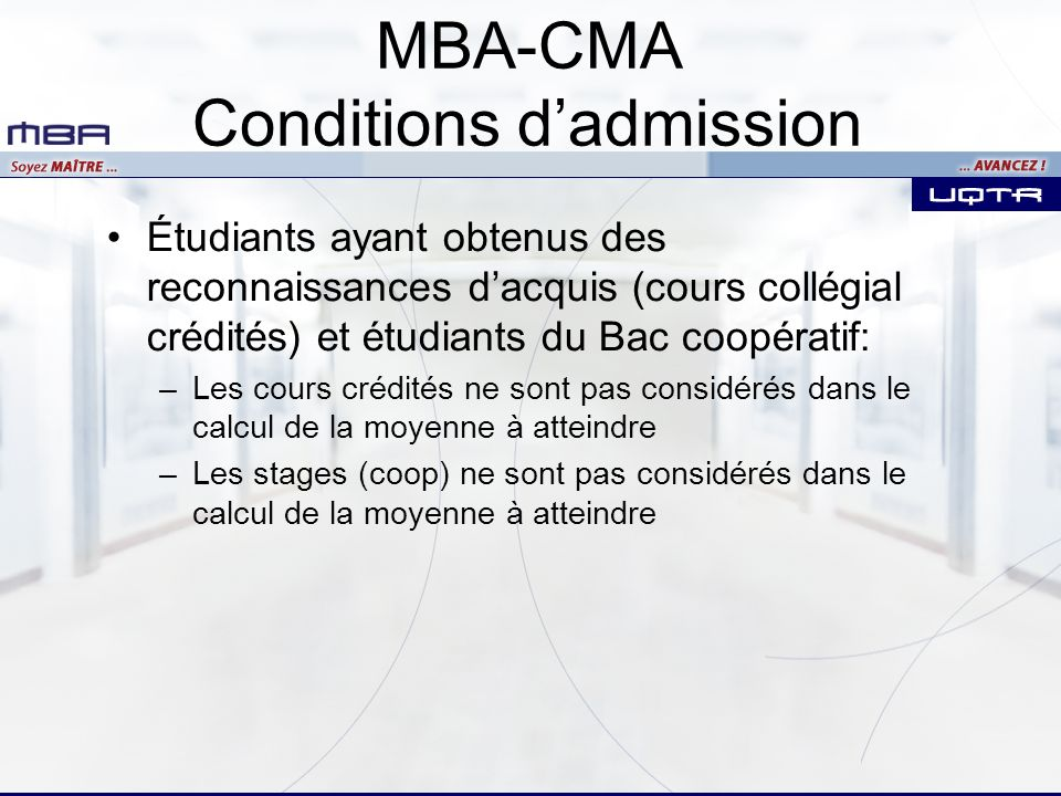 MBA-CMA Conditions d'admission