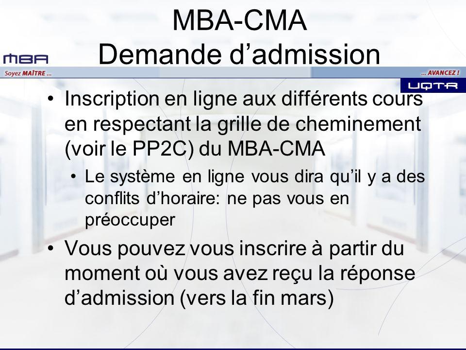 MBA-CMA Demande d'admission