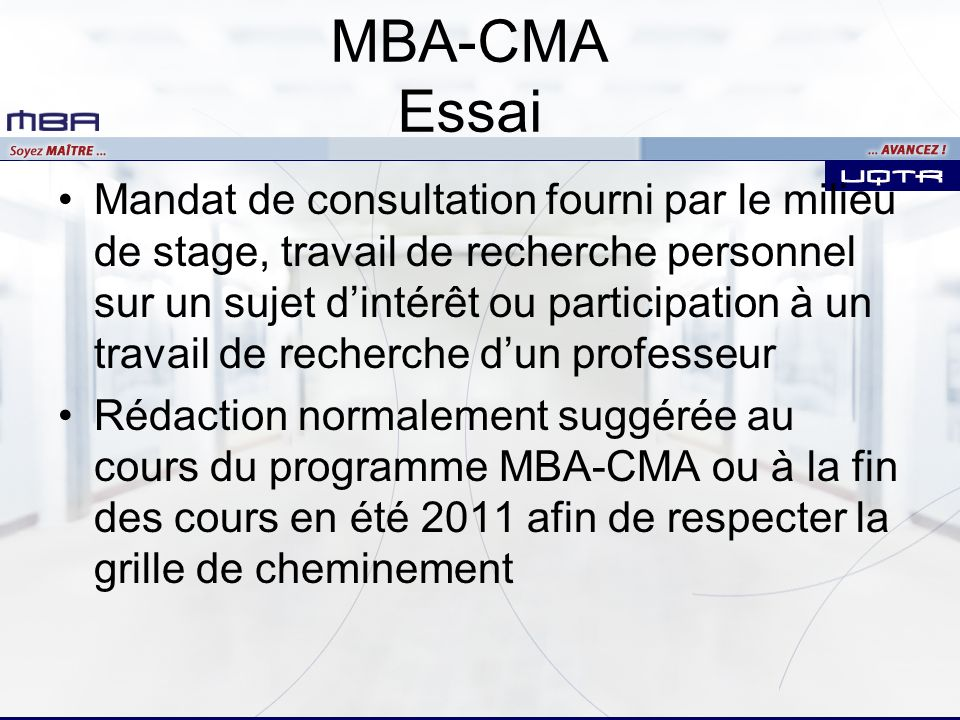 MBA-CMA Essai