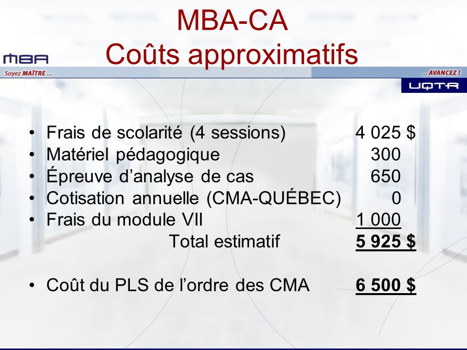 MBA-CA Coûts approximatifs
