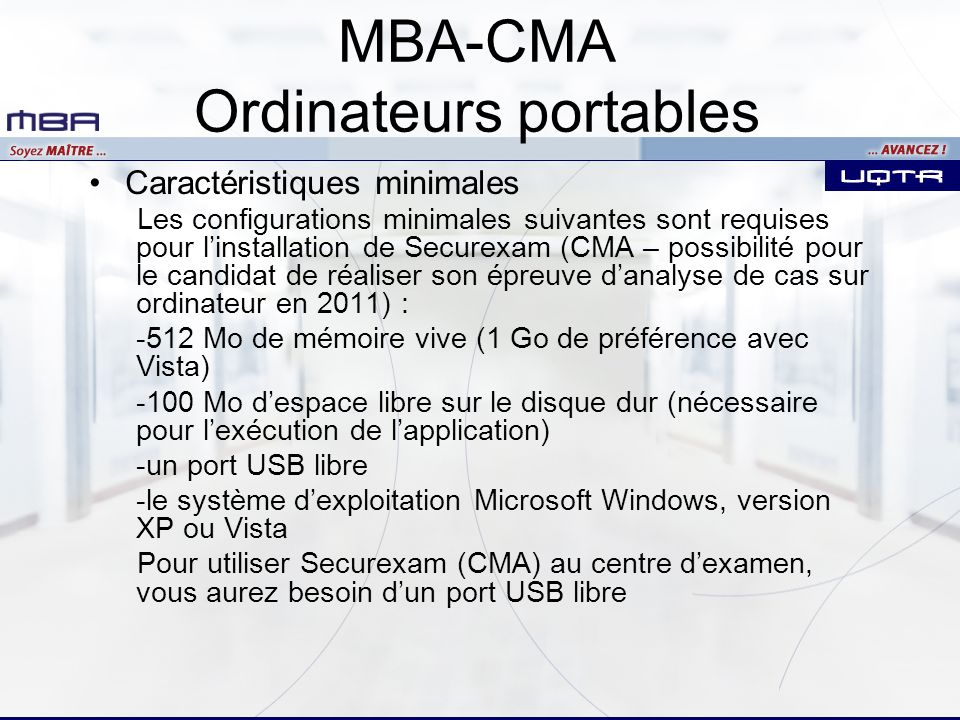 MBA-CMA Ordinateurs portables