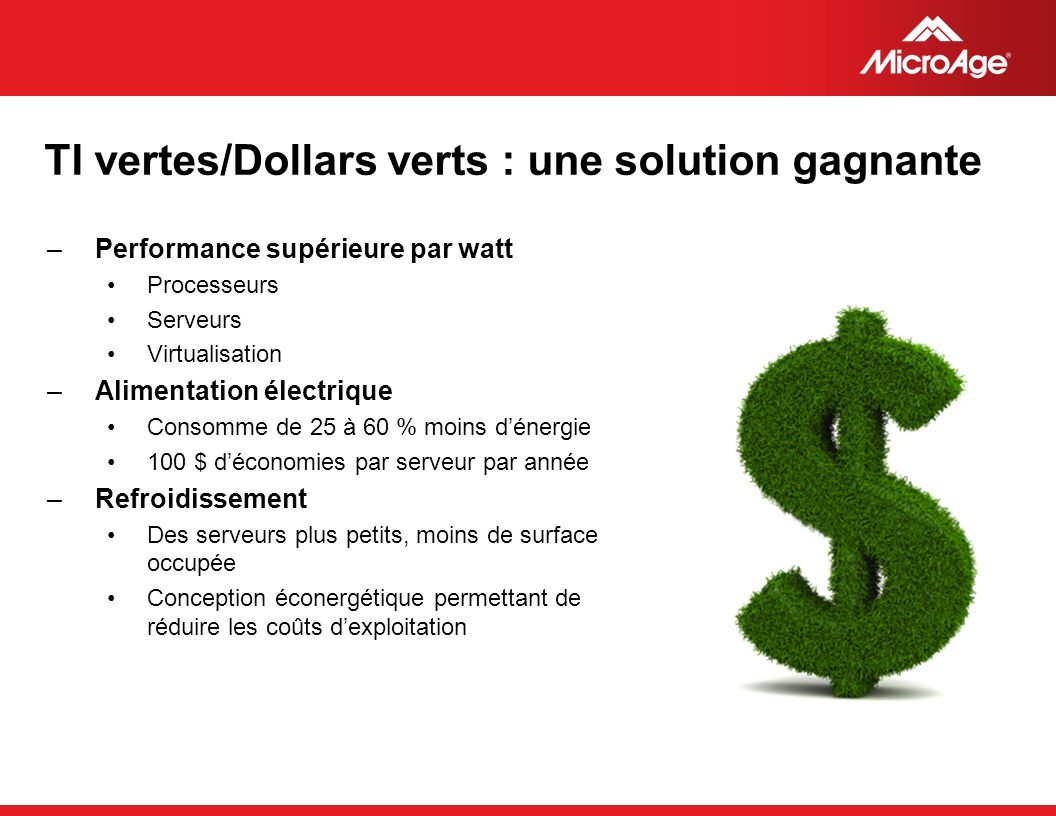 TI vertes/Dollars verts : une solution gagnante