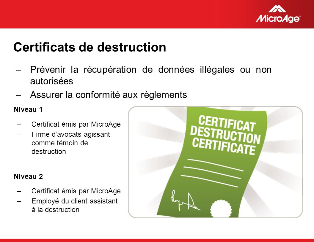 Certificats de destruction