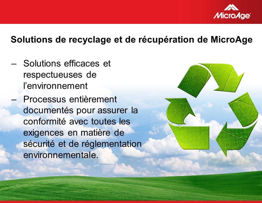 Solutions de recyclage et de récupération de MicroAge